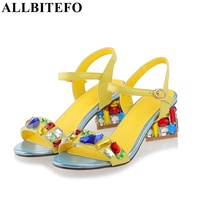 Plus Size EUR 33 43 Fashion Rhinestone 3 Colors Genuine Leather Women Sandals 2015 New Summer