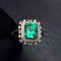 Fine Jewelry G18k золотые кольца с настоящими бриллиантами 18 K золото натуральный изумруд 1.7ct драгоценных камней женские обручальные кольца для жен