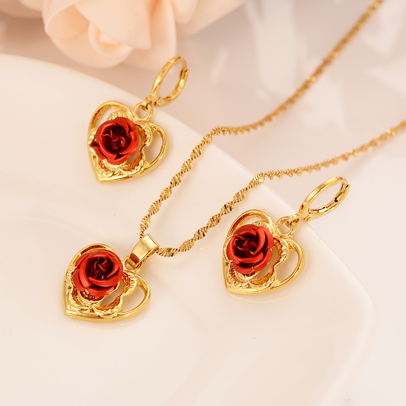 Gold  love heart family set Jewelry Pendant Chain Earrings African Dubai Bride Wedding women girls  Bijoux mother gift