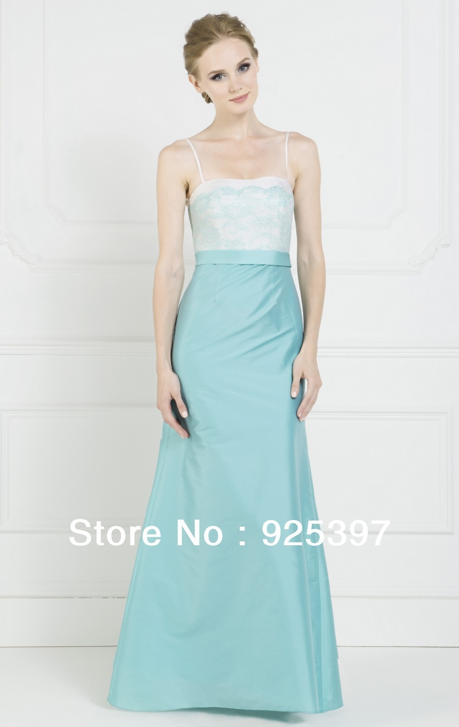 Spaghetti Strap Lace Bodice Floor Length Teal Colored Bridesmaid Dresses In From Weddings Events On Aliexpress Alibaba Group