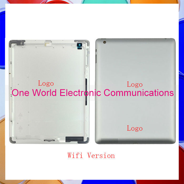 50Pcs/lot For Ipad 2 ipad 3 ipad 4 Back Rear Housing Cover Battery Door with Logo Wifi Or 3G Version 16GB 32GB 64GB DHL EMS