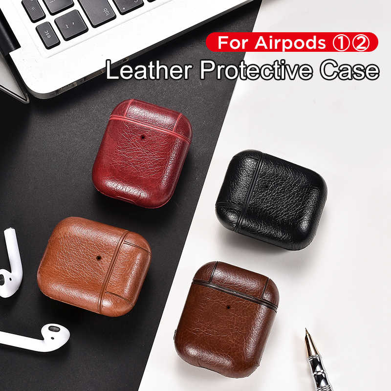 for Airpods Case For Apple Airpod 1 2 Strap Leather with Buttons Headphone Case Earphone air pods leather case Accessories New