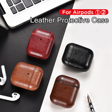 for Airpods Case For Apple Airpod 1 2 Strap Leather with Buttons Headphone Earphone air pods leather case Accessories New