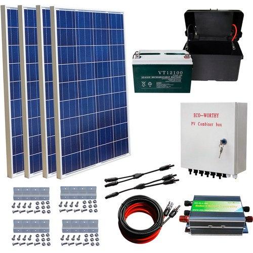 400W off Grid Solar Kit 4x 100W Solar Panel + 100AH Battery + Solar Combiner Box