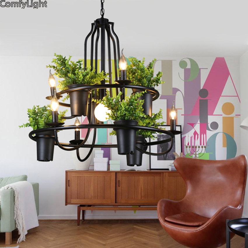 ECO Creative Modern Potted Plant Pendant Light layering Babylon Hanging Lamp suspension luminaire Home Lighting Fixtures Lustres iwhd led pendant light modern creative glass bedroom hanging lamp dining room suspension luminaire home lighting fixtures lustre