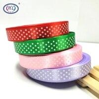 HL 5 8 4 Rolls 200yards 4 Colors Printed Dots Satin Ribbons Wedding Christmas Decorative Weaving
