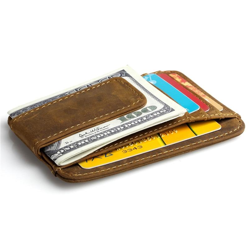 Slim Crazy Horse Genuine Leather Money Clips Men Wallets Front Pocket Brown Color Wallet Strong Magnet Male Purse #K023
