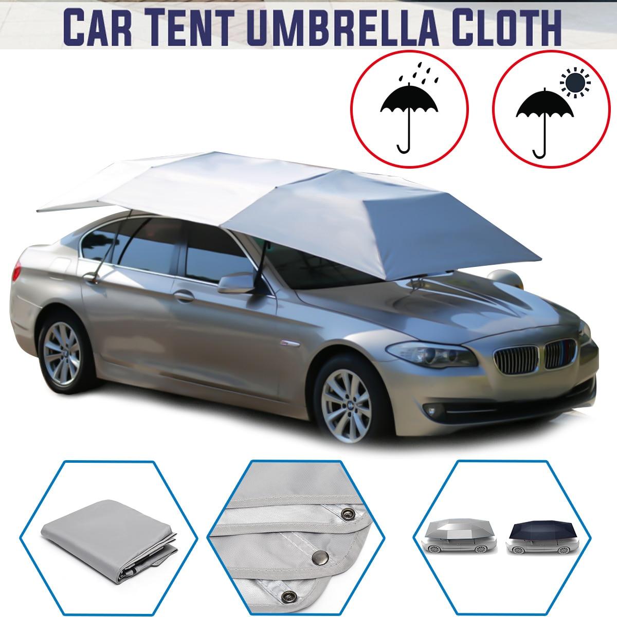 Parapluie de voiture entièrement automatique ombre de soleil en plein air voiture véhicule tente parapluie parasol couverture de toit imperméable Anti UV tissu pas de support