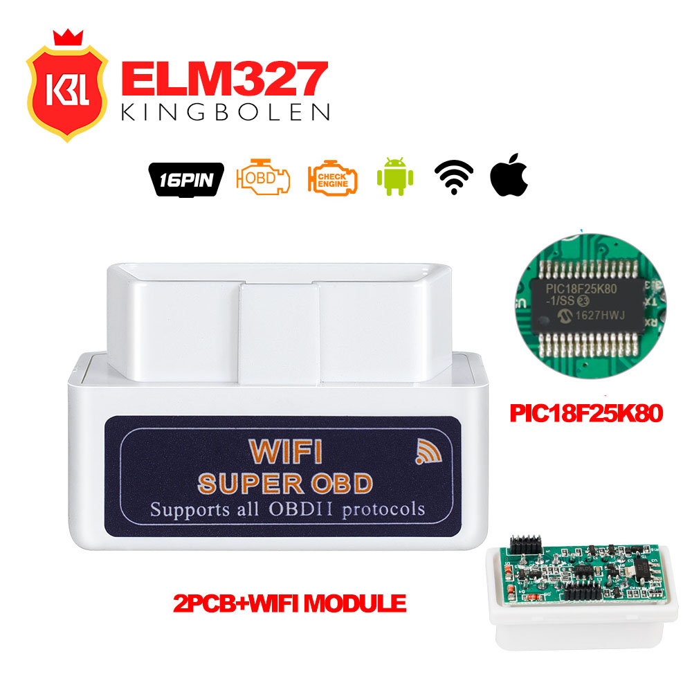 ELM327 WIFI Hardware V1.5 Supports AndroidiOSWindows With PIC18F25K80 ELM 327 Wi-Fi Diesel Cars Super OBD2 Code Scanner