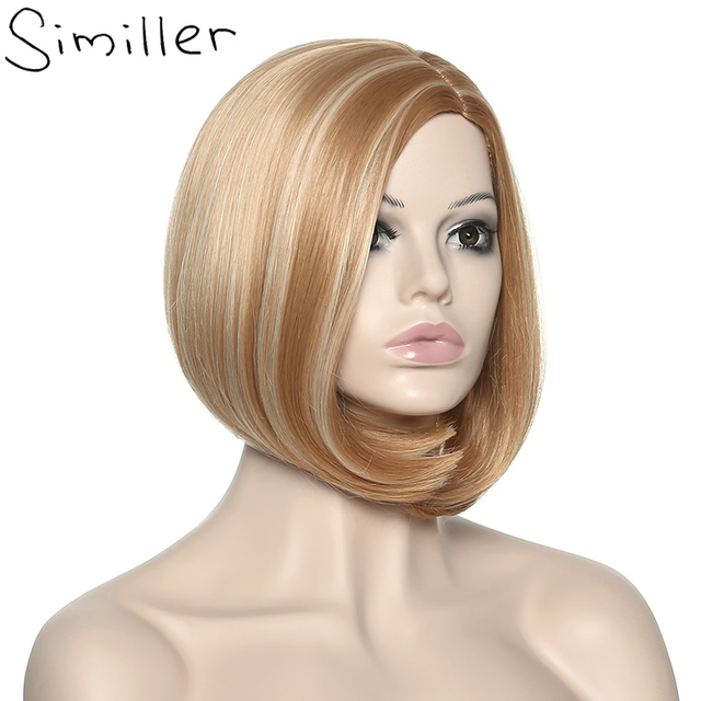 Similler Synthetic Hair Ombre Highlight Blonde Brown Roots Bob Short