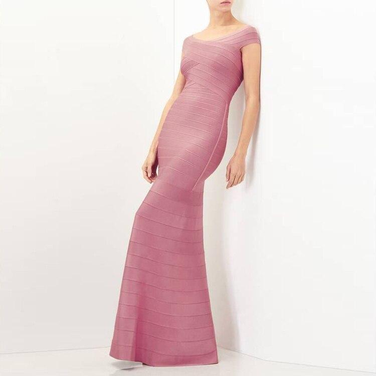 Défilé Manches Partie Sortir noir De Formelle Maxi 2018 The Robes Bandage Pink Off Shoulder Bal Mode Soirée Sans Sirène Robe dC0q64w