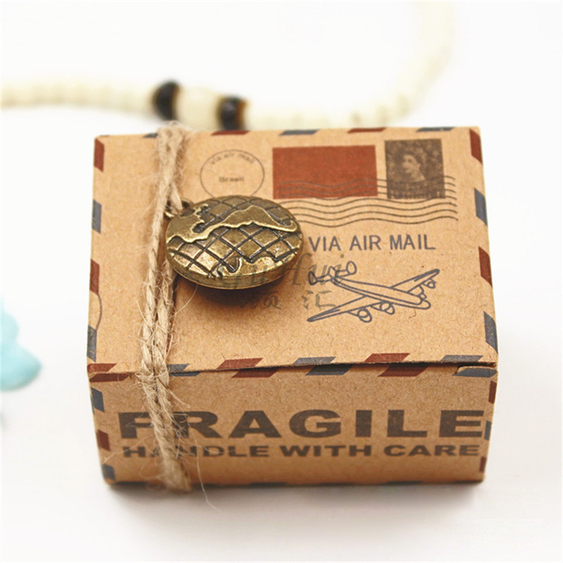 Vintage Wedding Supplies Envelope Air Mail Kraft Paper Candy Box Earth Compass Metal Charms Travel Theme Gift Packaging Box Rope
