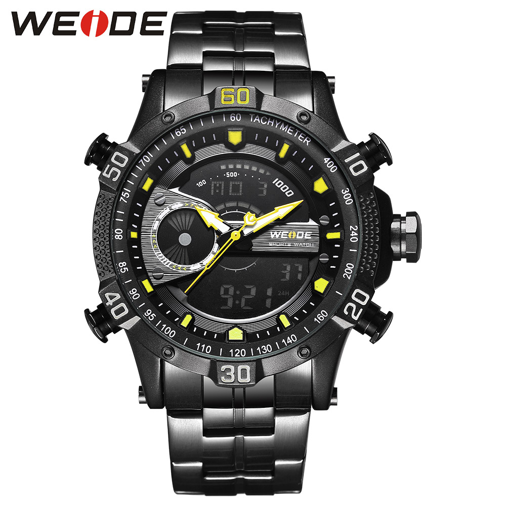 WEIDE Luxury Brand Watch Sport Men Digital Stainless Steelin Quartz Watch Man Waterproof Electronics Army Alarm Clock Steampunk weide popular brand new fashion digital led watch men waterproof sport watches man white dial stainless steel relogio masculino