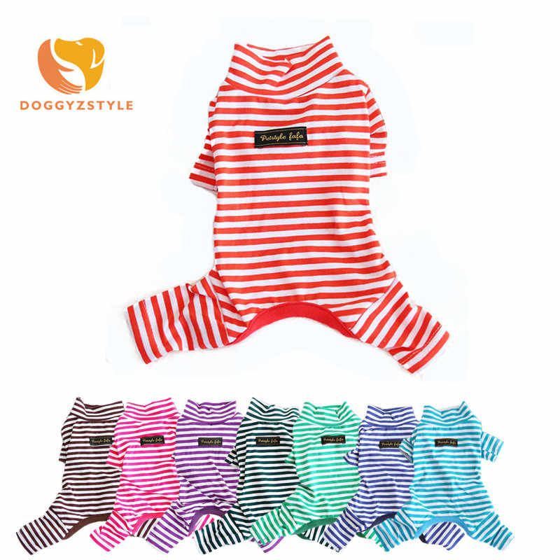Autumn Winter Pet Dog Jumpsuit Pets Sleepwear Pajama Stripe Coat Cotton Perro Clothes Overall Teddy Yourkie Outfit DOGGYZSTYLE