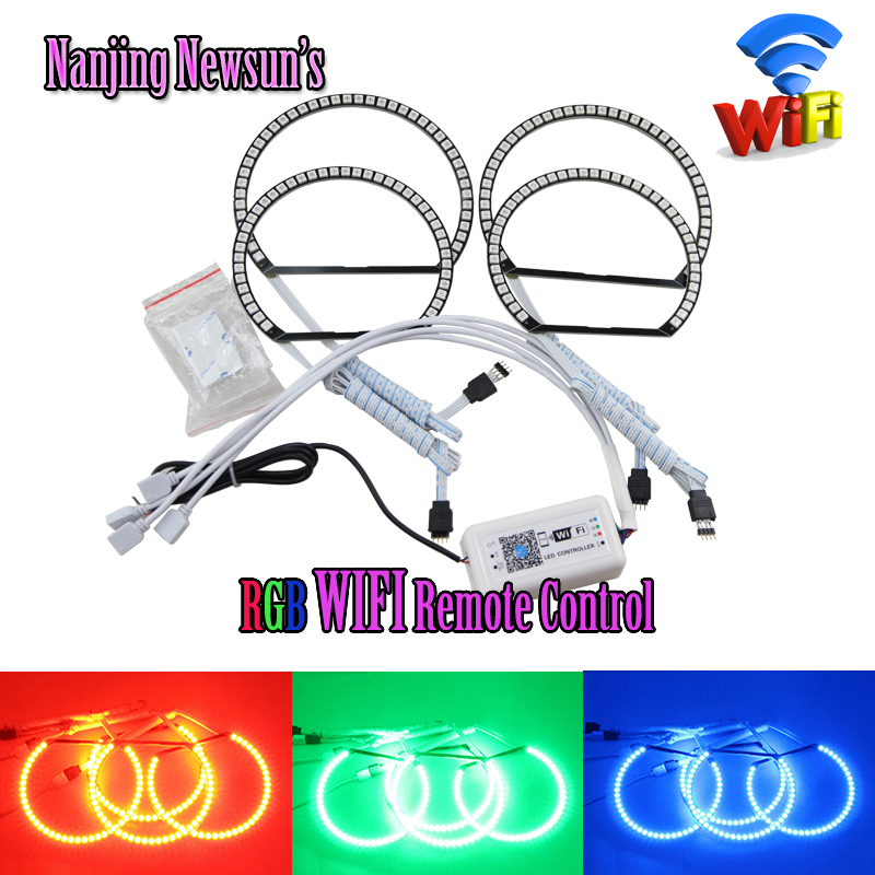 Multi-color 5050 led rgb angel eyes halo ring kit with LED WIFI controller for BMW E36 E38 E39 E46 color changing by Phone