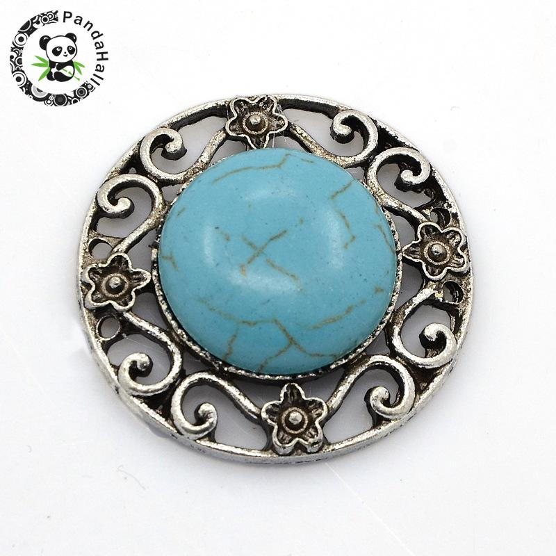 Antique Silver Tone Alloy Synthetic Turquoise Links, Chandelier Components, 2/2Loops, Flat Round, SkyBlue, 33x9mm, Hole: 1mm