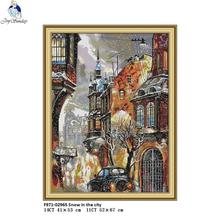 Joy sunday Snow in the City Canvas DMC 11ct 14ct Counted Chinese Cross Stitch Kits Printed for Embroidery Home Decor