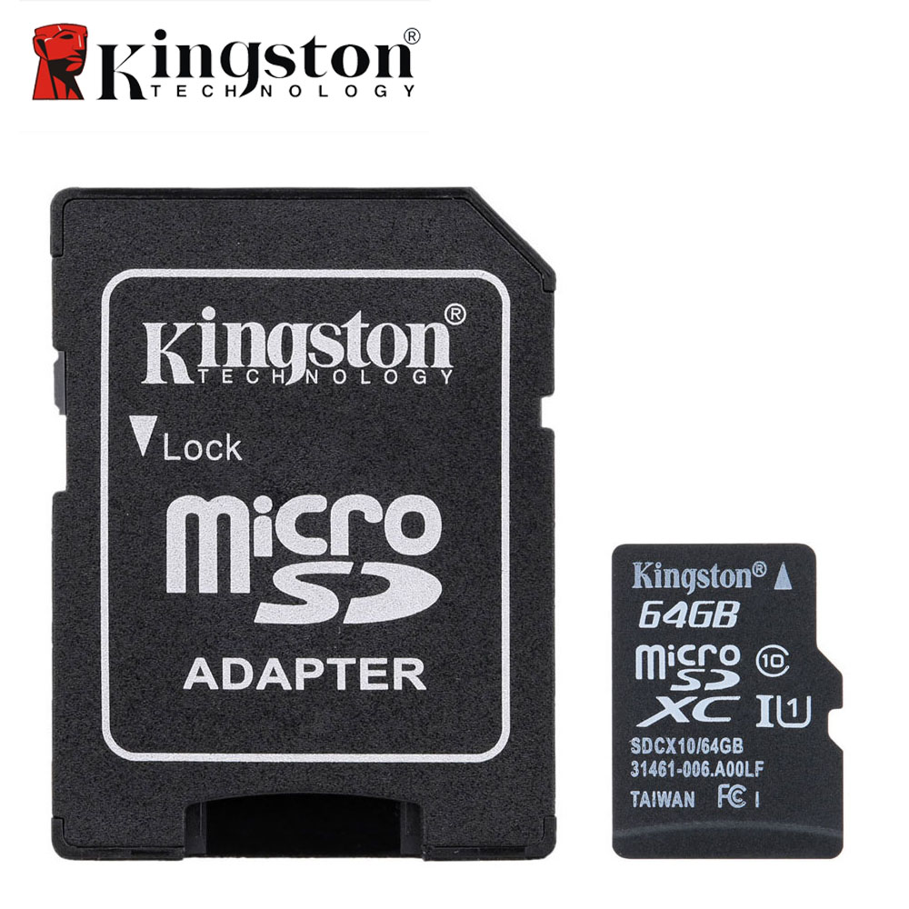 Kingston Original Micro SD Card 16GB Memory Card with Adapter 32GB 64GB Class 10 Memory SDHC SDXC TF SD Card For Smartphone PC samsung micro sdhc tf card 64gb class 10 w tf to sd card adapter orange 64gb