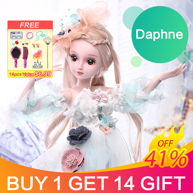 UCanaan 19 Ball Joints BJD SD Doll with Clothes Outfit Shoes Wig Hair Makeup for Girls