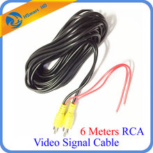6 Meters RCA Video Signal Cable Waterproof 6M RCA Car Video Cable with Detection Wire For Car Rear View Camera mini DVR Kits