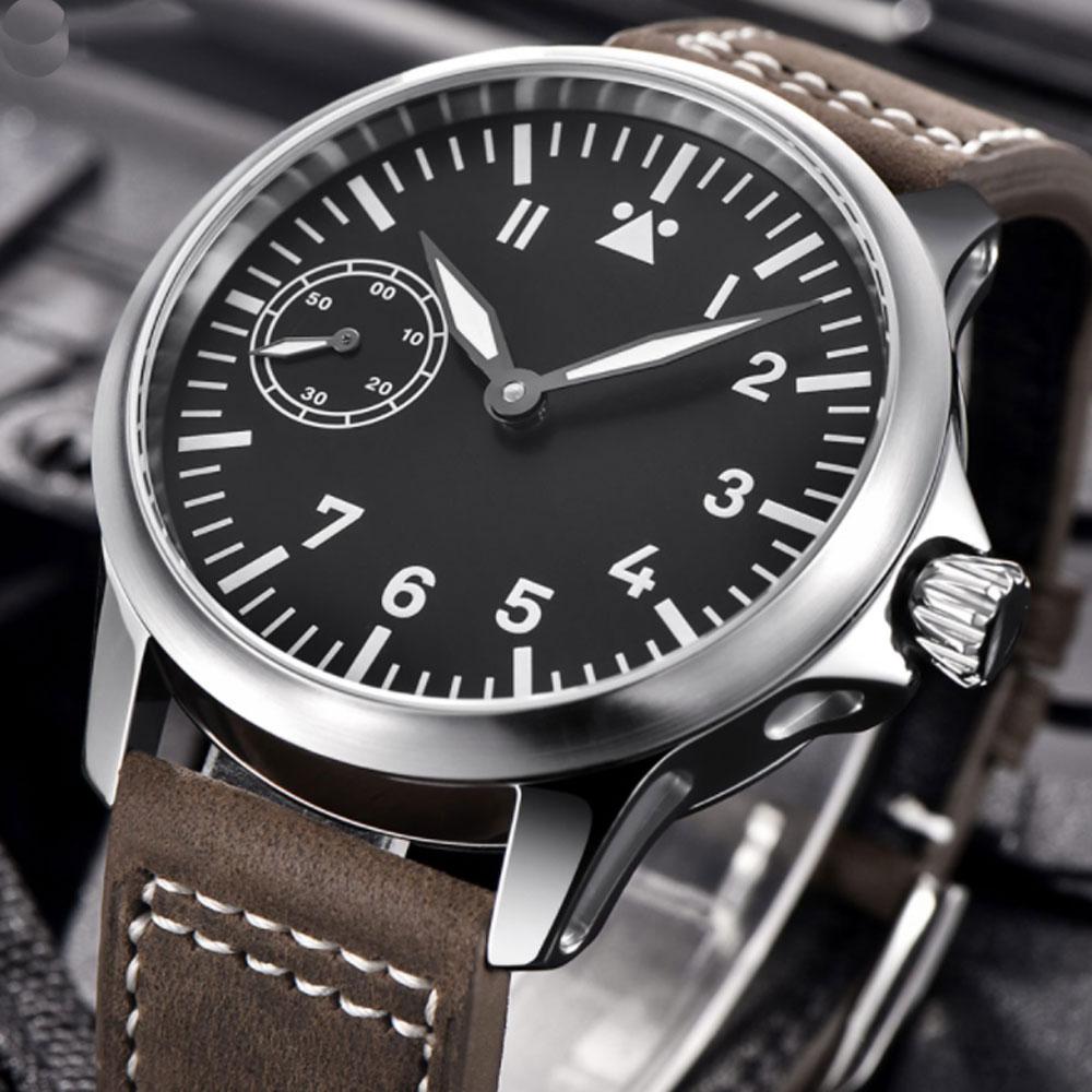 цена на 45mm Corgeut Black Dial Luminous Marks Leather strap Fashion Top Watch 17 Jewels ST 6497 Hand Winding Movement men's Watch