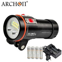 ARCHON W43VP D37VP Дайвинг видео светло красный УФ фонарик XM L2 светодиодный Макс 5200 люмен подводной фотографии фонарь 18650