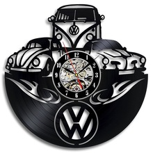 Car Logo Volkswagen Vinyl Record Wall Clock Gift for Friend 3D Decorative Hanging Home Decor Clock Classic Wall Clock