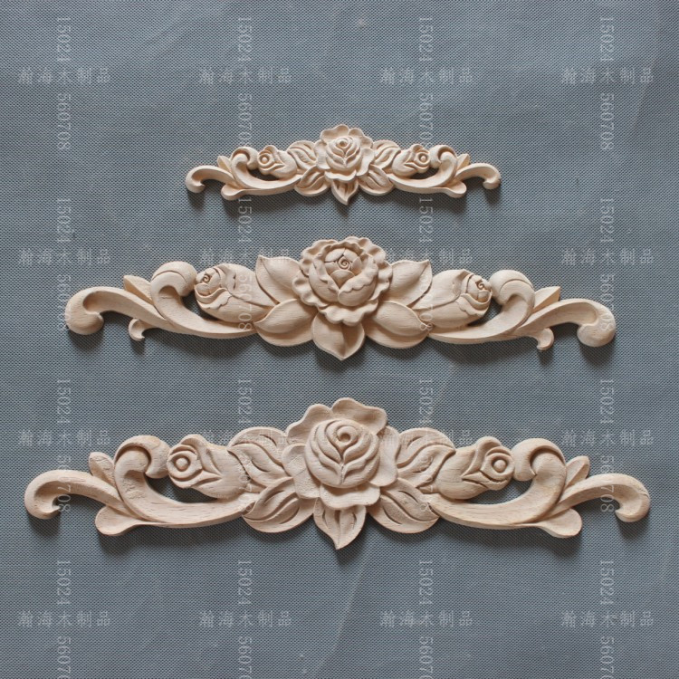 Dongyang wood carving wood applique furniture home diy fashion small  accessories kitchen cabinet door bed rose
