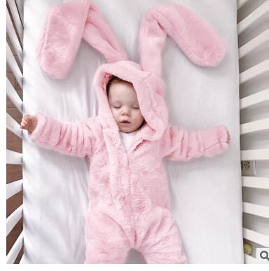 2018 pink rabbit New winter wram Baby Rompers Cute Cartoon Rabbit Infant Girl Boy Jumpers Kids Baby Outfits Clothes