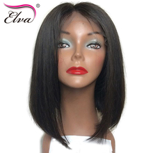 Elva Hair 150% Density Human Hair Bob Wigs Brazilian Remy Hair Straight Short Lace Front Wig Pre Plucked Hairline With Baby Hair