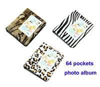 High Quality 64 Pockets Photo Album For Mini Fuji Instax Film Name Card Leopard Book Album
