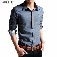 Men's Denim Blue Oxford Dress Shirts 2019 Spring New Slim Fit Long Sleeve Shirt Men Business Office Easy Care Chemise Homme 4XL