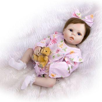 57CM Full silicone vinyl reborn baby dolls lifelike bebes reborn silicona completo bonecas for children birthday gift