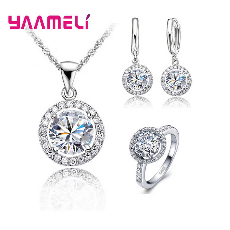 YAAMELI Romantic 925 Sterling Silver Cubic Zircon Necklace Earring Ring  Bridal Jewelry sets for Women Valentines 8533e7466481