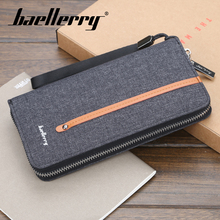 Baellerry 3 Color Solid Canvas PU Porta Wallet Coin Pocket Card Holder Photo Holder Wallet Men Vintage Zipper Long Note Wallet baellerry men solid black long wallet pu leather zipper n rope wallet coin pocket card holder photo holder business wallet men