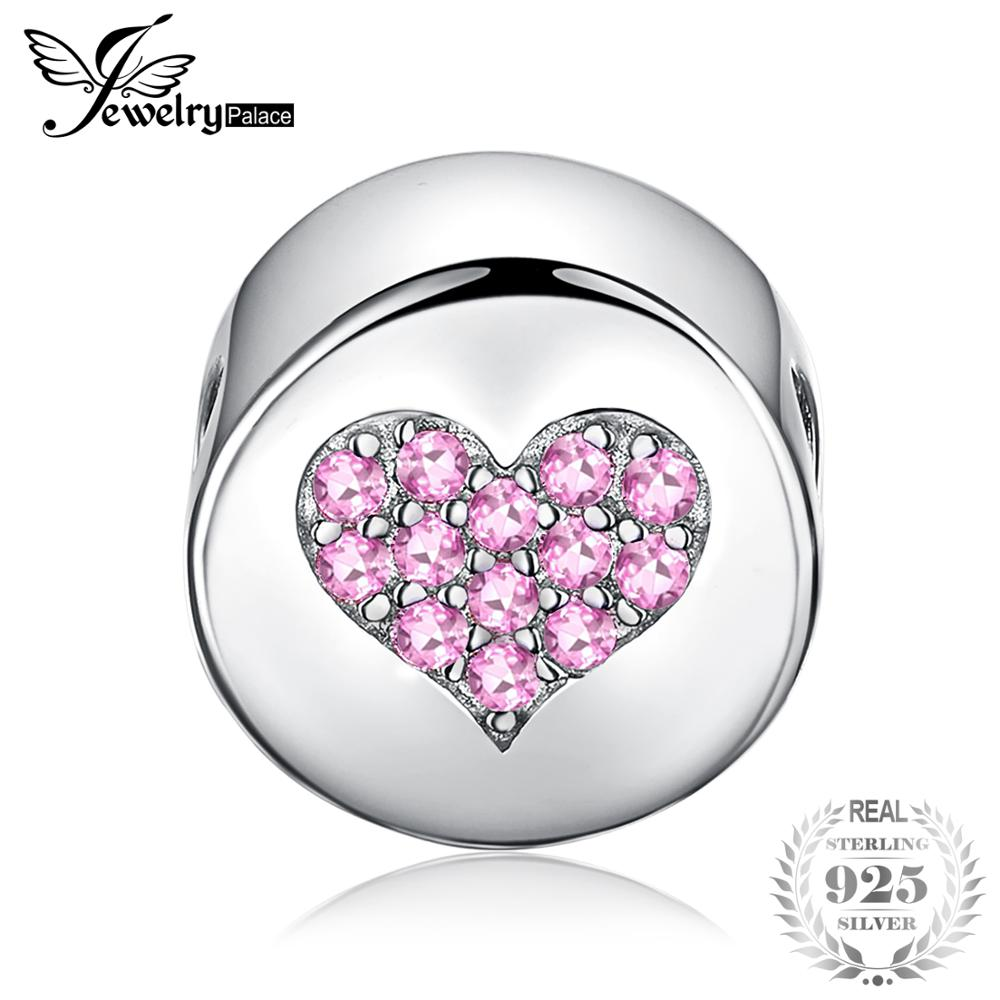 JewelryPalace Hope And Faith Round Pink Cubic Zirconia  Heart Ball Bead Charm 925 Sterling Silver Fashion Women DIY BeadsJewelryPalace Hope And Faith Round Pink Cubic Zirconia  Heart Ball Bead Charm 925 Sterling Silver Fashion Women DIY Beads