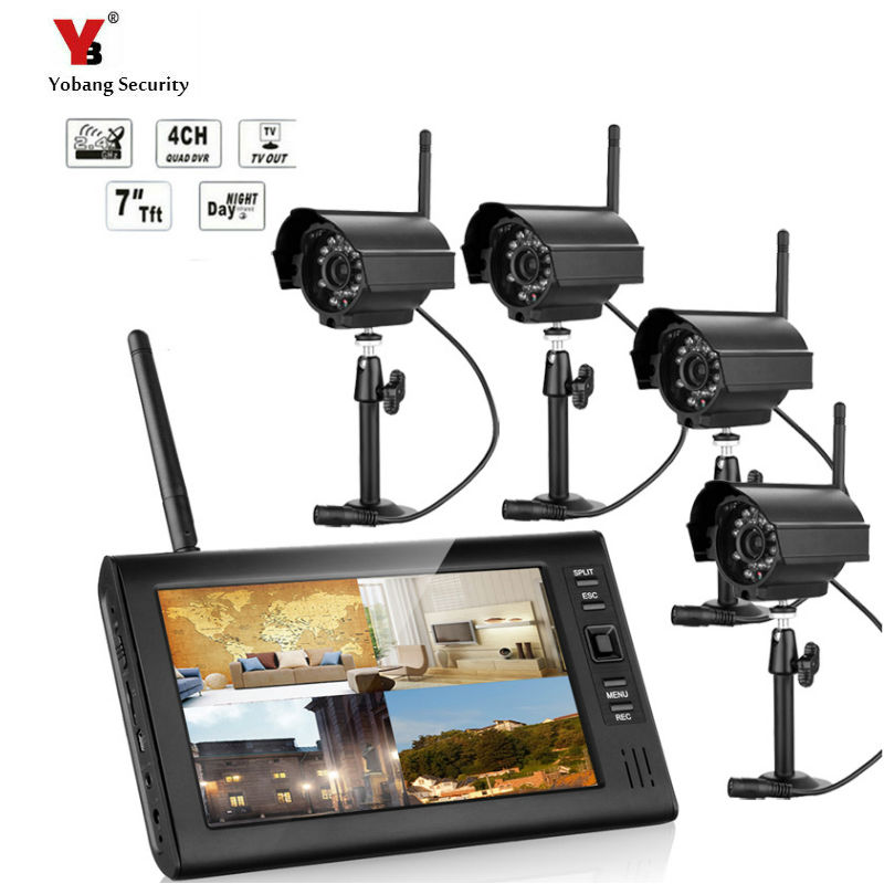 7 LCD Monitor Home Security 4 Camera System 2 4G font b Wireless b font Quad