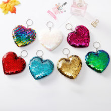 Cute Heart-shaped Keychain Glitter Pompom Sequins Key Ring Gifts for Women Llaveros Mujer Charms Car Bag Accessories Key Chain(China)