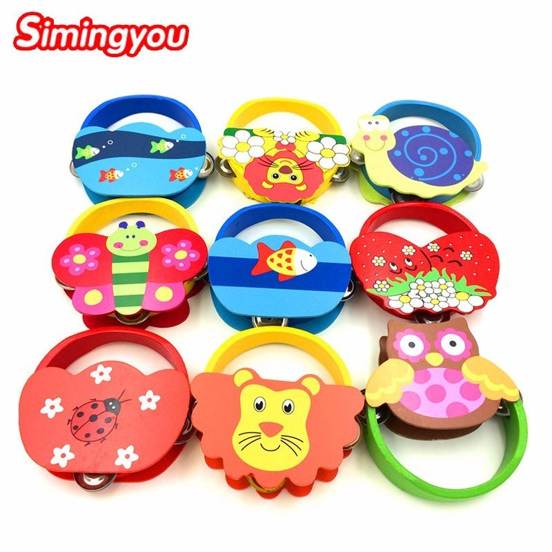 Simingyou Baby Musical Instrument Toy Rattles Cartoon Percussion Cute Animal Wooden cartoon rattle D10 Drop shipping (random)