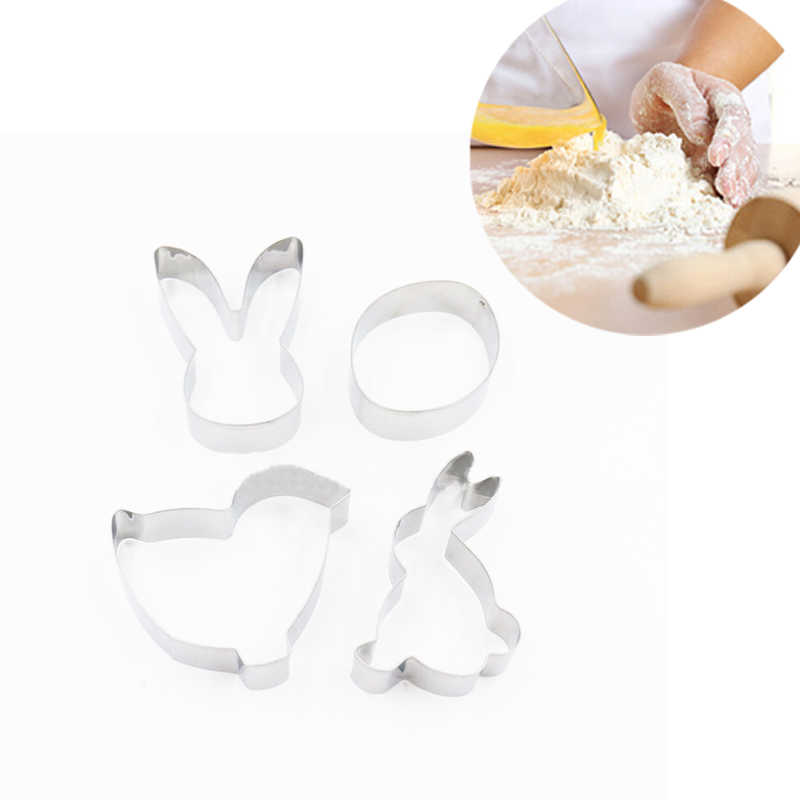 1 PCS Gelukkig Pasen Konijn Biscuit Cookie Mold Rvs Paaseieren 3D Cookie Cutter Bakken decoraties voor Home Drop