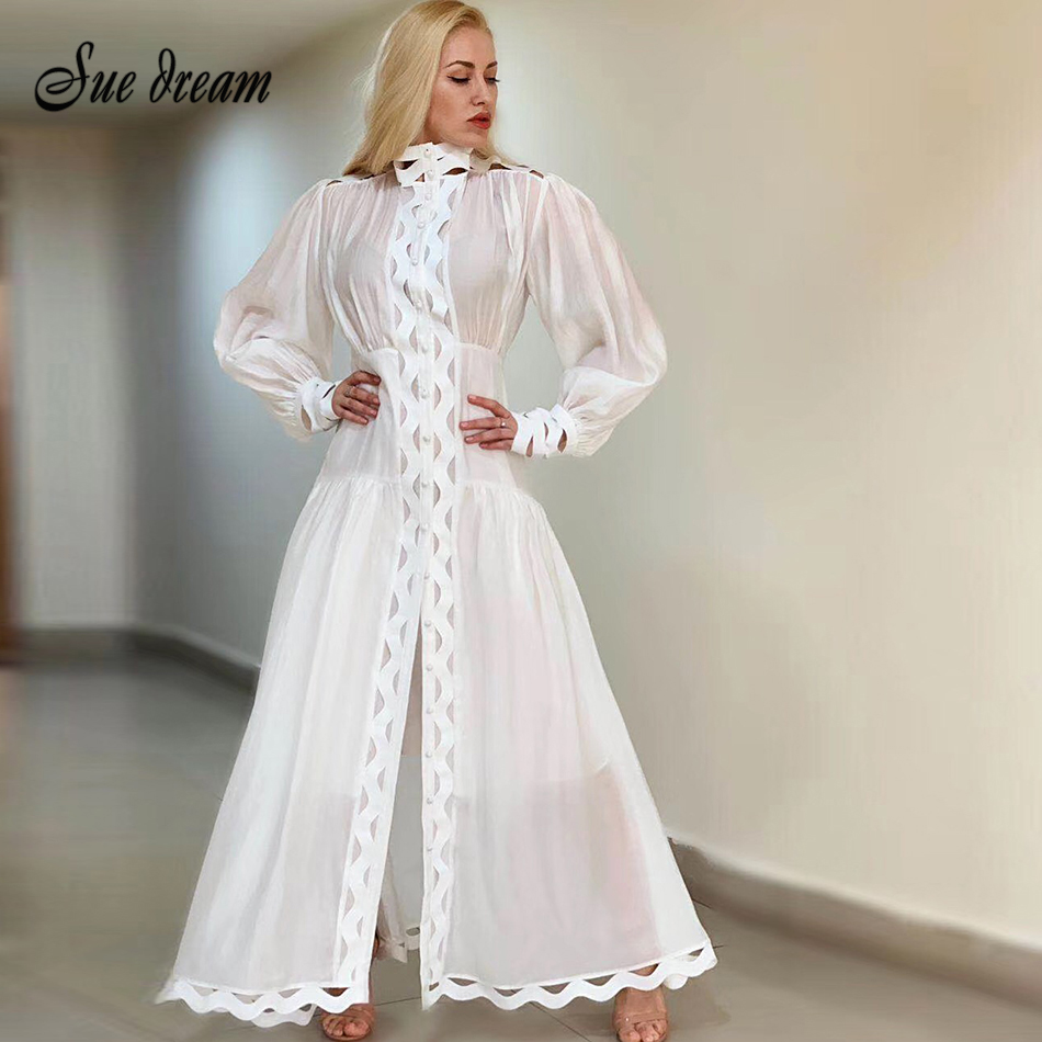 Kadın Giyim'ten Elbiseler'de 2019 yaz yeni kadın retro boş o boyun beyaz siyah elbise Fener kollu uzun elbise kulübü parti pist elbise Bodyc'da  Grup 1