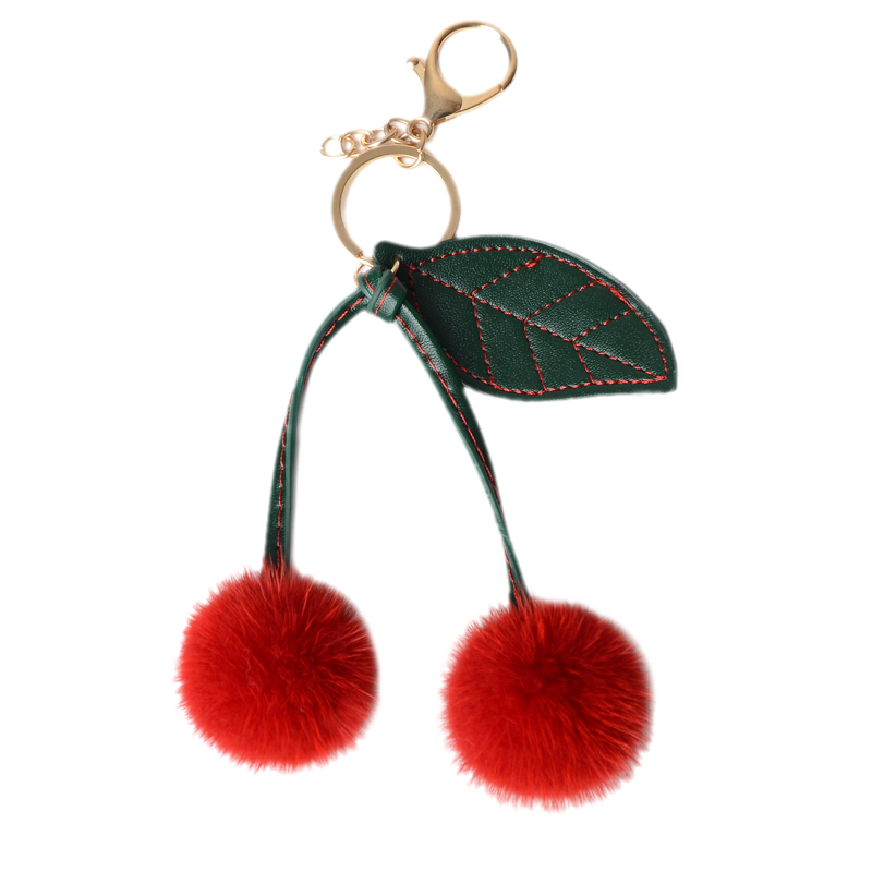 Cute fruit red cherry genuine fur bag charm pendant blue real mink fur pompom keychain car phone key ring holder chaveiro gift