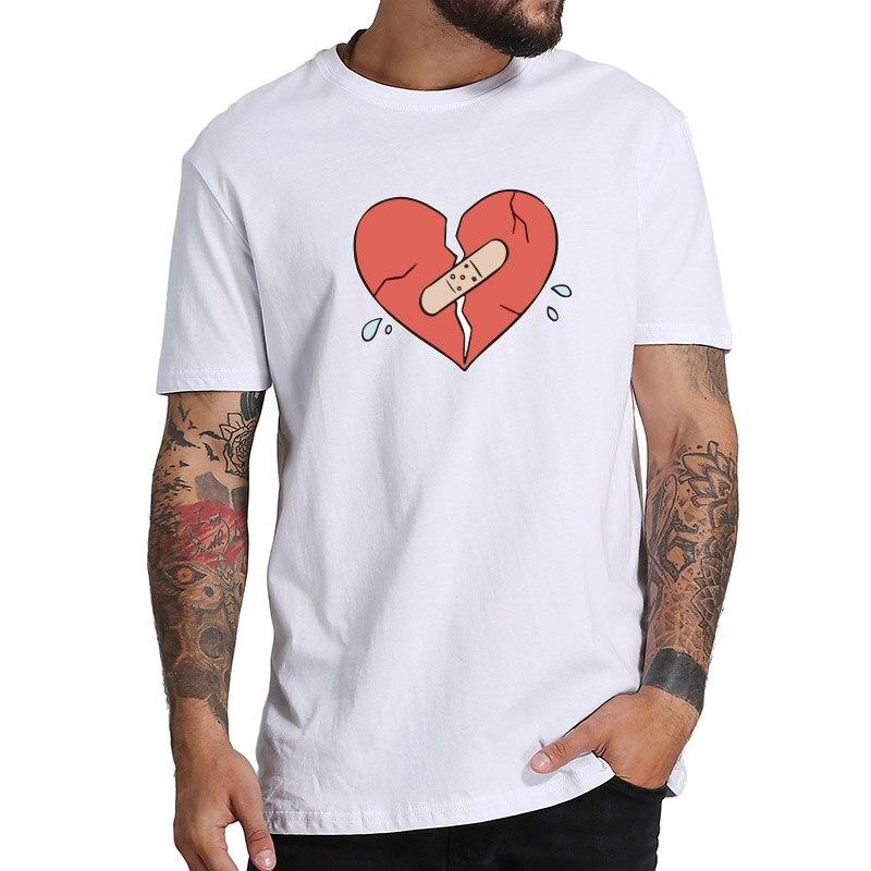 T-shirt Da Uomo di Personalità di Xanarchy Rotto Maglietta Cuore Delle Donne Degli Uomini di Puro Cotone Morbido Hip Hop Tee shirt Homme Formato di UE Lil xan