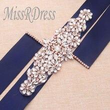 MissRDress Wedding Belt Crystal Rhinestones Bridal Belt Rose Gold Diamond Bridal  Dress Sash For Wedding Accessories 2dc7b005d319