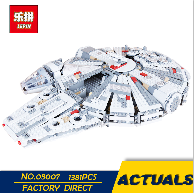 LEPIN 05007 1381PCS New Star Set Wars Millennium Falcon Toys Educational building blocks marvel Kids Toy Compatible with 10467 ynynoo lepin 05007 star assembling building blocks marvel toy compatible with 10467 educational boys gifts wars