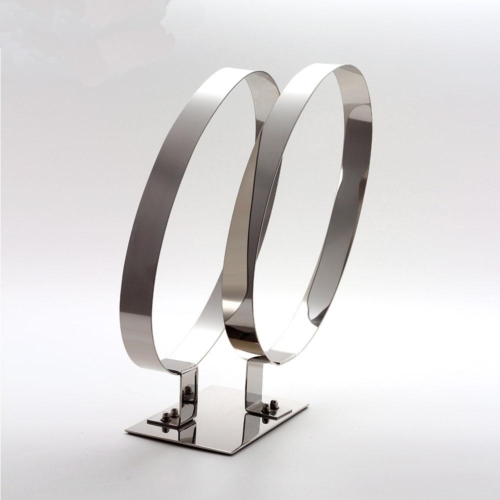 Cadre de ceinture en métal argenté, cadre d'exposition à double anneau en acier inoxydable, accessoires d'affichage de ceinture de cadre de ceinture de magasin