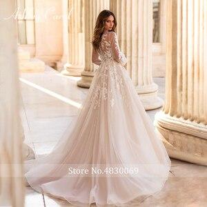 Image 2 - アシュリーキャロルaラインのウェディングドレス 2020 パフスリーブロマンチックなビーズアップリケボタン花嫁ガウンビーチ自由奔放に生きるvestidoデnoiva