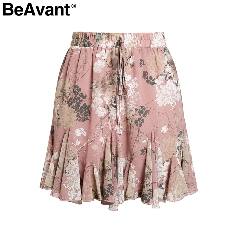 BeAvant Bohemian print summer skirts womens Ruffle pleated floral short boho skirt female High waist chiffon beach mini skirt 7