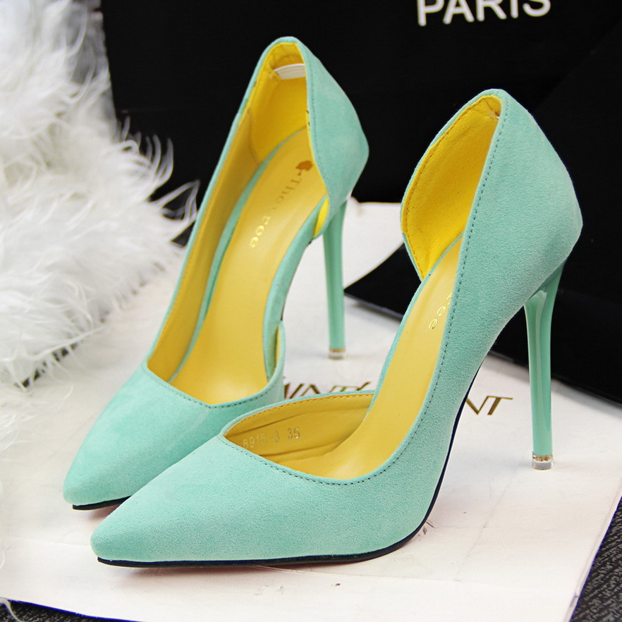 Fashion High Heel Shoes Pointed Toe Women Pumps Sexy Ladies Shoes Thin Heel Red Bottom Wedding Shoes Suede tip side hollowed 2015 fashion women pumps high heel pointed toe shoes soft leather elegant ladies wedding shoes red black size 34 40