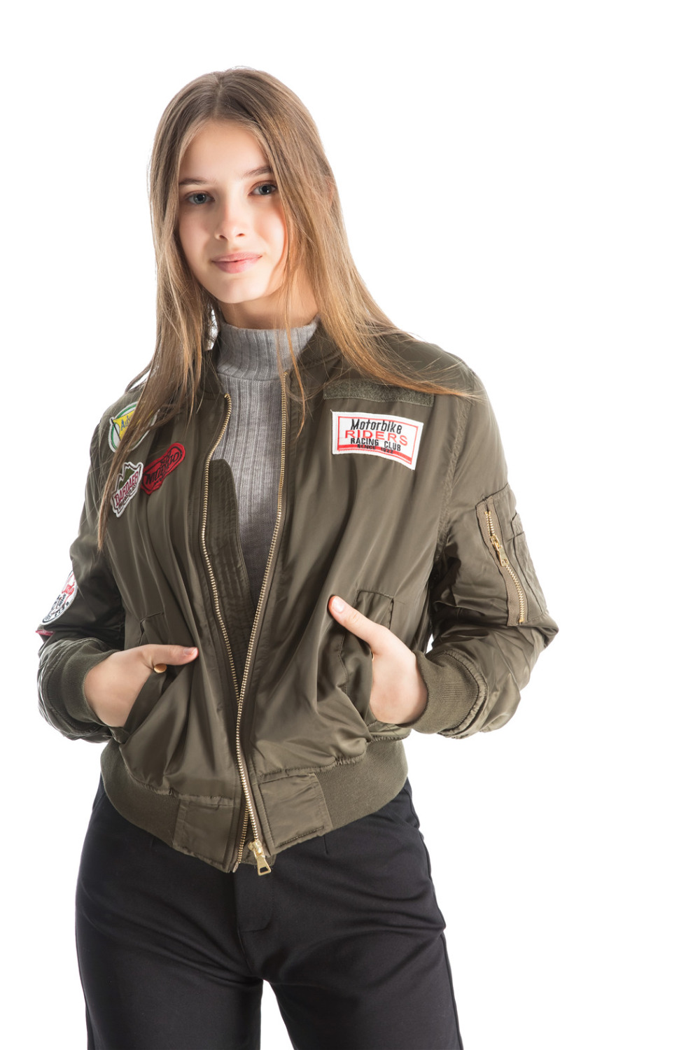 Women winter padded jacket new army green short coat embroidery loose style female outwear clothes drop shipping SML long sleeve